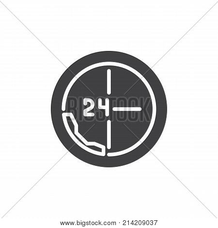Call 24 hours icon vector, filled flat sign, solid pictogram isolated on white. All day support symbol, logo illustration.