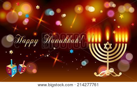 Happy Hanukkah Holiday greeting poster with donuts - traditional cake, dreidel spinning top, candles with fire flame, candelabrum, bokeh abstract background, defocus lights effect, Festival of lights Israel. Jewish Holiday stock photo