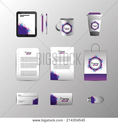 set company stationary template with business documents vector illustration