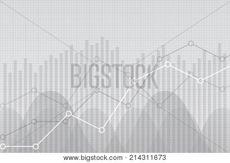 Financial data graph chart vector illustration. Trend lines columns market economy information background. Growth company economic concept. Financial data, chart, graph. Financial info, data background.