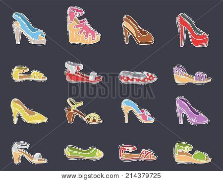 Set of womens shoes flat design vector collection hand drawn style of leather colored moccasins boots illustration. Wear for all seasons. For shoe store ad fashion concepts.