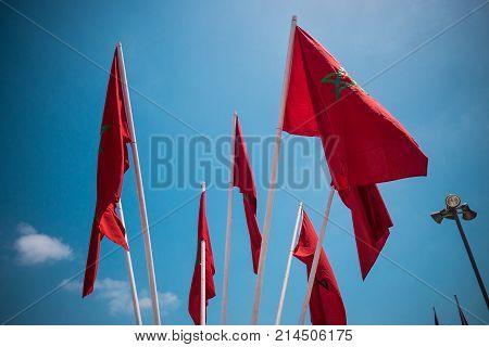 low angle view of moroccan flags against sky - Casablanca - Morocco stock photo