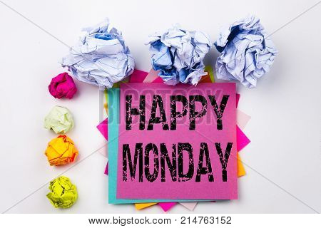Happy Monday text written on tablet computer in the office with marker pen stationery. Business concept for Greeting Announcement white background with space stock photo