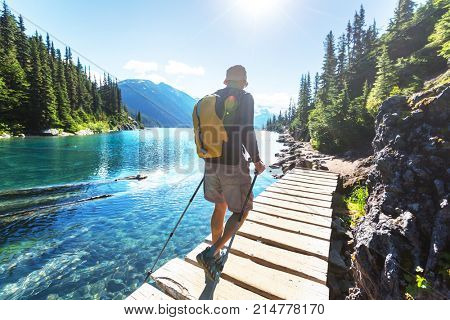 Hike to turquoise waters of picturesque Garibaldi Lake near Whistler, BC, Canada. Very popular hike