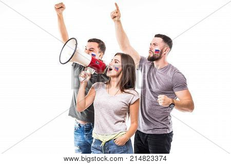 Group of football fans support Russian national team on white background. stock photo