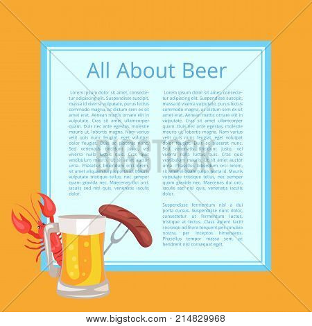 All about beer poster with food and drink. Isolated vector illustration of mug of alcoholic beverage, fried sausage on carving fork and red crayfish