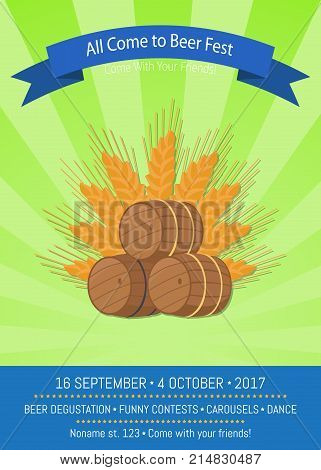 All come to beer fest Vector illustration on green and light-green striped background, showing three beerbarrels and ear of wheat.