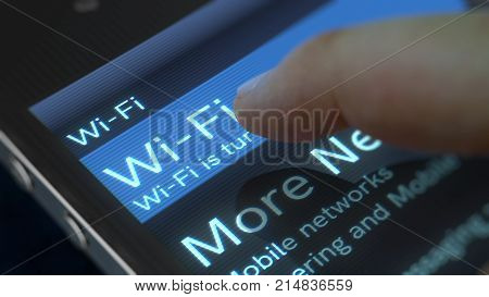 An original 3d rendering of a mobile phone with shining inscription Wi-Fi and Mobile Phone icon. The finger is going to press the button. The phone is placed askew in the black background. stock photo