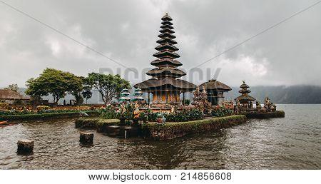 Ulun Danu Bratan (Pura Ulu Danau) temple. Famous place national landmark of Bali Indonesia. Panoramic stock photo