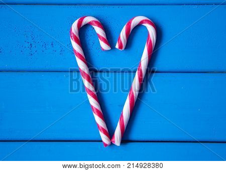 closeup of heart made from Christmas candy. love is all around us