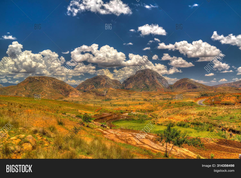 Landscape to Andringitra mountain range at Ihosy, Madagascar