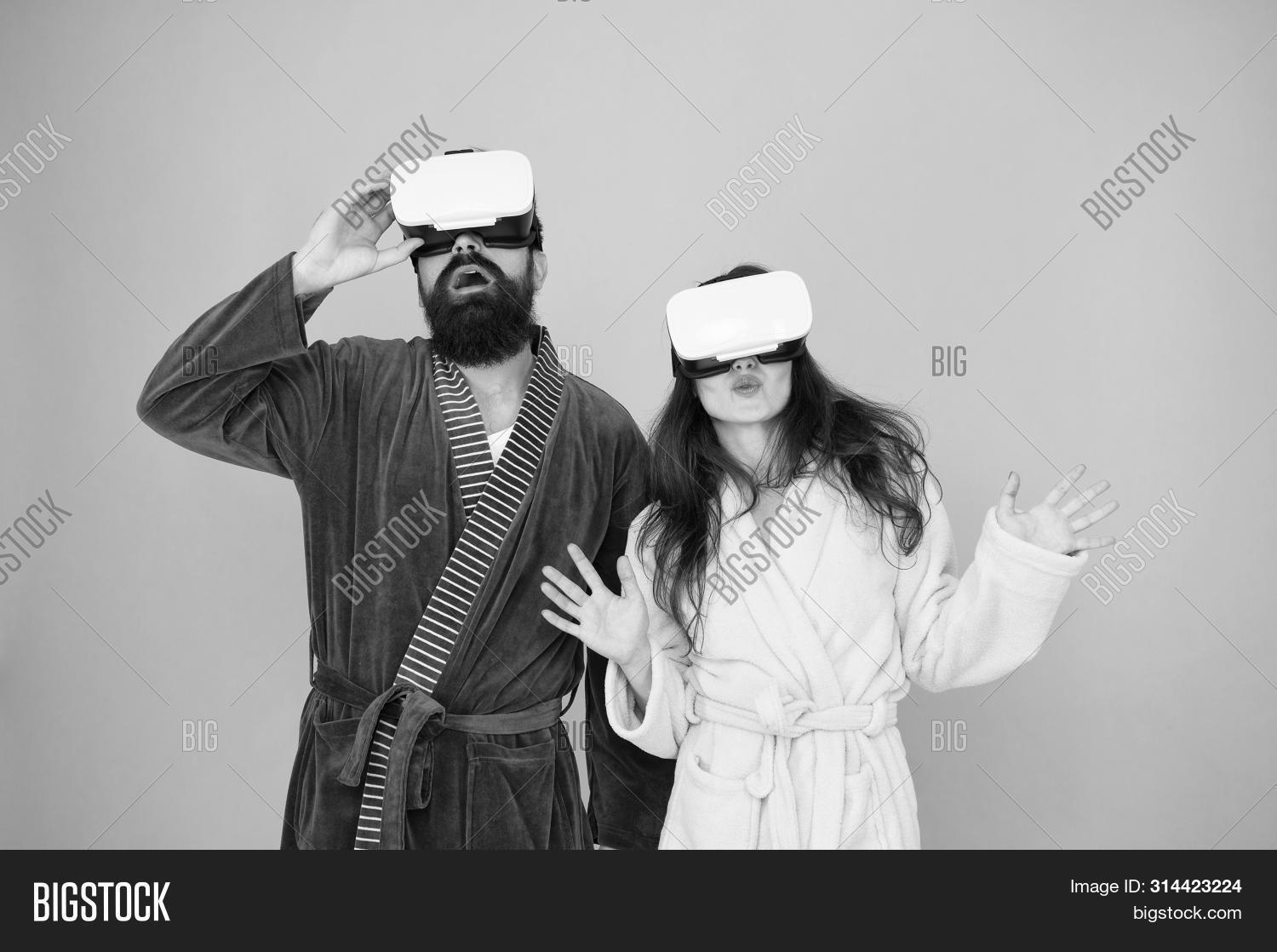 Virtual Reality. Love. Good Morning. Surprised Family In Vr Glasses. Couple In Love. Family In Virtu
