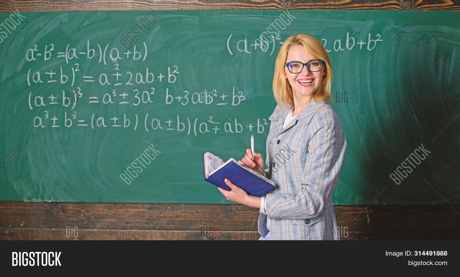 Effective Teaching Involve Acquiring Relevant Knowledge. Woman Teaching Near Chalkboard In Classroom