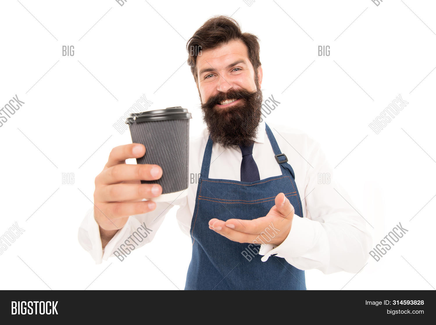 Barista Prepared Coffee For You. Enjoying Fresh Coffee. Mature Barista In Apron Isolated On White. R