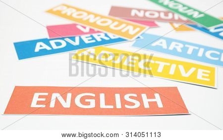 English word cards of part of speech on white background stock photo