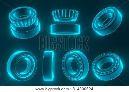 3D rendering. Automotive bearings auto spare parts. Tapered roller bearing isolated on a blue background. Wheel bearing for truck, heavy duty and car. stock photo