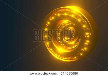 3D rendering. Automotive gold bearings auto spare parts. Tapered roller bearing isolated on a blue background. Wheel bearing for truck, heavy duty and car. stock photo