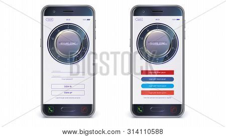Smartphone, mobile phone isolated. UI design. Account authorization with login and password fields for touch screen mobile apps. UX Screen with digital lock on login page, vector 3d illustration stock photo