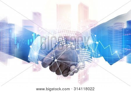 Partner. investor business man handshake with partner for successful project meeting with world map global network link connection and city background, investment, partnership and teamwork concept stock photo