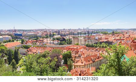 Panoramic view on Prague historical center, Hradcany, Charles bridge over Vltava river from Prague castle. Prague, Czech republic. stock photo