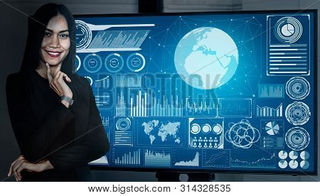 Data Analysis for Business and Finance Concept. Graphic interface showing future computer technology of profit analytic, online marketing research and information report for digital business strategy. stock photo