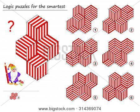 Logic puzzle game for smartest. Find template which corresponds to geometric figure. Printable page for brainteaser book. Developing spatial thinking. Vector cartoon image. stock photo