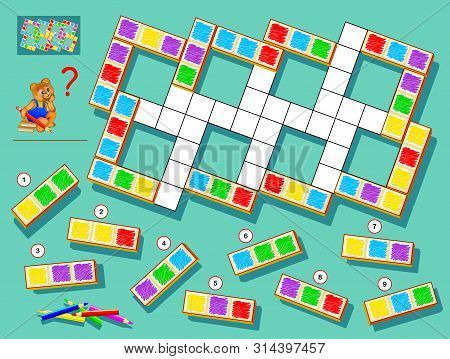 Logic puzzle game for children and adults. Find correct places for remaining blocks and paint white squares respecting domino rules. Printable page for brainteaser book. Developing spatial thinking. stock photo