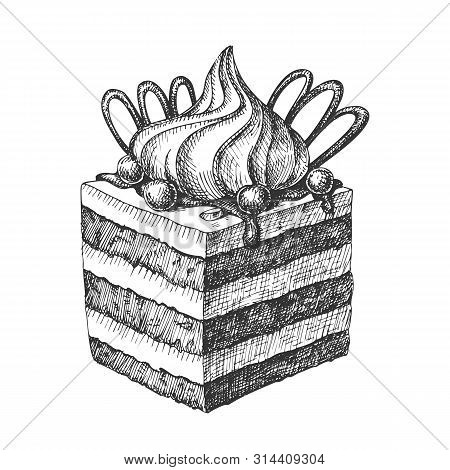 Bakery Creamy Cake Sweet Dessert Vintage Vector. Delicious Biscuit Cake Decorated Chocolate And Custard Cream, Candy And Berries Concept. Design Culinary Product Template Monochrome Illustration stock photo