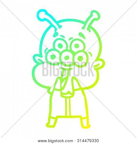 cold gradient line drawing of a happy cartoon alien gasping in surprise stock photo