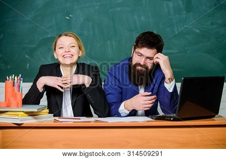 Teacher principal decide who will enter private school. Private elite school. College enrollee. Entrance examination. Apply to enter high school. Selection committee concept. Interviewing enrollee stock photo