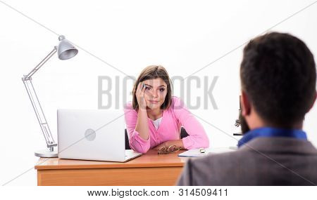 Interview goes well. Pretty boss making decision about job applicant. Man applying for job. HR manager conducting job interview. Interviewer asking interview questions to candidate. Job interview stock photo