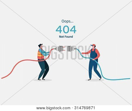 404 error page not found System updates, uploading, operation, computing,installation programs. system maintenance. Flat vector illustration modern character design. For a landing page, web p stock photo