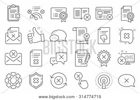 Reject or cancel line icons. Set of Decline certificate, Cancellation and Dislike icons. Refuse, Reject stamp, Disapprove or cancel. Wrong agreement, delete certificate, checklist document. Vector stock photo