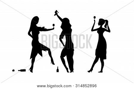 Three Girls, womens. Ladys drinking. Drunk people, drunk party event, vector silhouettes. Bachelor holiday, illustration on white background. Stag party. Eps 10 stock photo