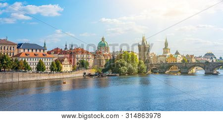View of the city of Prague and the Vltava River on a sunny day. Prague, Czech Republic. stock photo