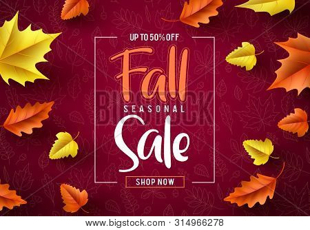 Fall sale seasonal vector banner. Fall season sale text typography with colorful maple leaves in red autumn pattern background. Vector illustration. stock photo