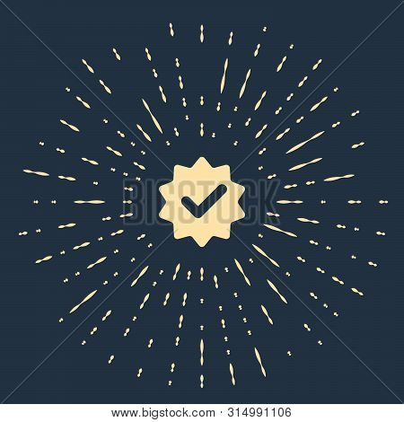 Beige Approved or certified medal with ribbons and check mark icon isolated on dark blue background. Abstract circle random dots. Vector Illustration stock photo