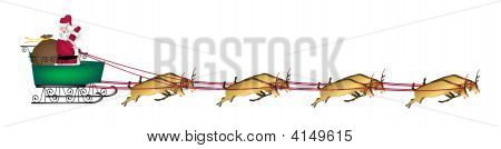 illustration banner of Santa and reindeer on white stock photo
