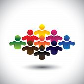 Abstract Colorful Group Of People Or Students Or Children - Concept Vector.