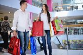 upbeat youthful couple with sacks in strip mall shopping center
