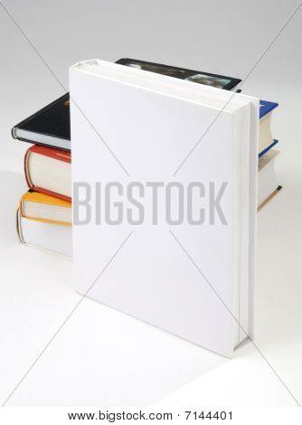 Four Blank book cover on white background stock photo