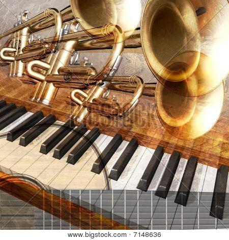 Fond trompette piano et guitare jazz