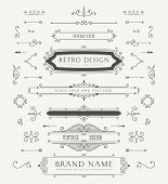 Set of Vintage Decorations Elements. Thrives Calligraphic Ornaments and Frames. Retro Style Desig