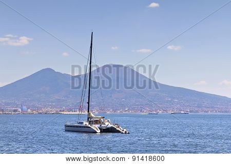 NAPLES ITALY- August 10 2012: Panorama of Naples view of the port in the Gulf of Naples and Mount Vesuvius stock photo