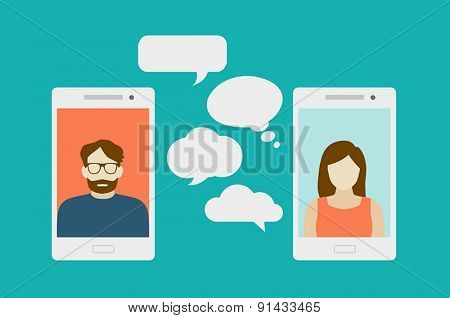 Concept of a mobile chat or conversation of people via mobile phones. Can be used to illustrate glob