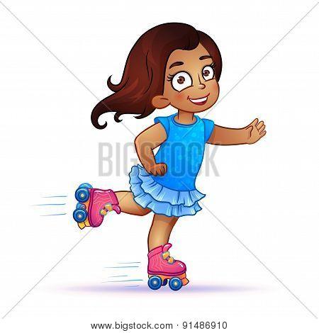 Little girl Latina rides on roller skates. Teen rides on roller skates and enjoy the speed and freedom. girl in dress on roller skates. isolated vector illustration stock photo
