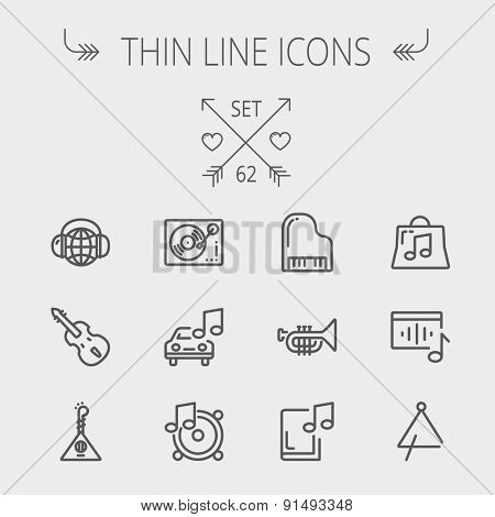 Music and entertainment thin line icon set for web and mobile. Set includes-Phonograph turntable, trumpet, piano, guitar, headphone, tambourine, car music icons. Modern minimalistic flat design stock photo