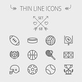 Sports slight line symbol set for web and portable. Set incorporates volleyball, b-ball, hockey puck