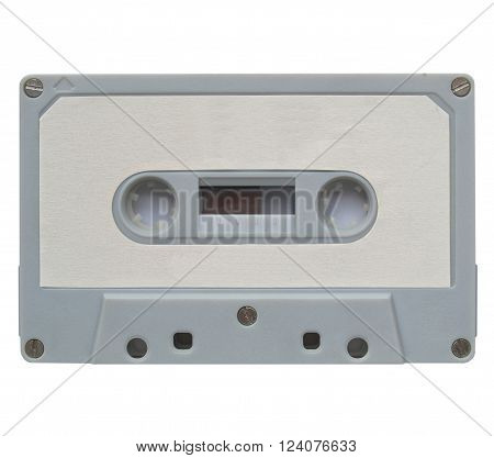 A magnetic audio tape cassette for music recording with blank label stock photo