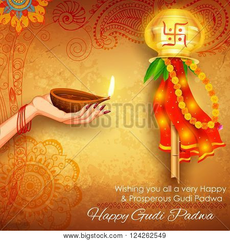 Illustration of gudi padwa lunar new year celebration of india illustration of gudi padwa lunar new year celebration of india with message in marathi gudi padwachi hardik shubhechha meaning heartiest greetings of m4hsunfo